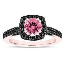 Pink Tourmaline Engagement Ring 14K Rose Gold Halo Pave 1.31 Carat