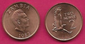 ZAMBIA 2 NGWEE 1983 UNC MARTIAL EAGLE,HEAD OF K.D KAUNDA RIGHT,DENOMINATION AT R