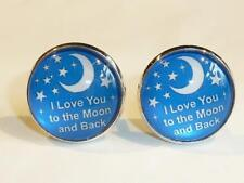 SILVER PLATED CUFFLINKS - LOVE YOU TO THE MOON & BACK - FREE UK P&P.......W1709