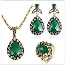 Antique Gold Plated Green Drop Shape Necklace Earrings Ring Turkish Jewelry Set