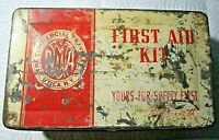 """Vintage """"The Commercial Travelers Utica NY """"First Aid Kit Tin Box W/Contents!"""