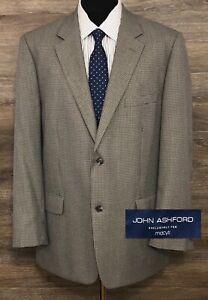 John Ashford Mens Gray Houndstooth Plaid Two-Button Blazer Sport Coat Jacket 46L