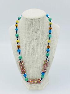 Venetian Millefiori African Trade Glass Beads Necklace Multi Color 12k Gold Fill