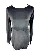 Tulle Womens Tunic Dress Sz S/M Gray Boatneck Long Sleeve Sweater Assymetric Hem