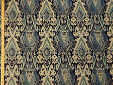 Woven Large Geometric Ikat Medallion Blues Teal Offwhite Upholstery Fabric