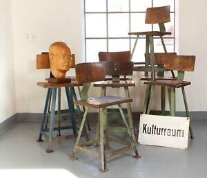 6 Hocker Rowac-Ära Werkstatt Hocker Bauhaus Vintage Barhocker Loft Arbeitshocker