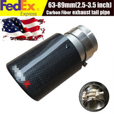 63mm-89mm Polished Carbon Exhaust Pipe Universal Car Muffler End Tip US Stock