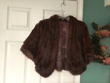Vintage Fur Stole Wrap Cape Jacket Brown (CON25)