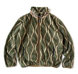 Kapital Men's Wavy Stripe Pattern Fleece Zip Blouson Khaki From Japan New