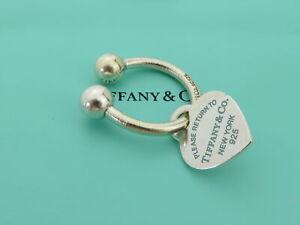 TIFFANY & CO Sterling Silver Blue Enamel Return to Tiffany Heart Tag Keyring