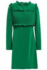 MAJE Pintucked ruffle-trimmed crepe mini dress T1/US2