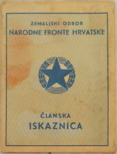 CARTA D'IDENTITA CROAZIA CROATIA NARODNE FRONTE HRVATSKE JUGOSLAVIA SOCIALISMO