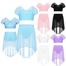 Kids Girls 2 Piece Ballet Dance Dress Skate Lyrical Latin Skirt Bra Tops Costume