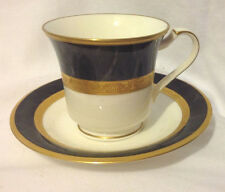 NORITAKE OPULENCE CUP AND SAUCER C&S BONE CHINA #9799 BLACK GOLD EC