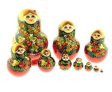 "Ladybug Strawberry Wooden Matryoshka Russian Nesting Doll 6"" 10 Pcs Signed"
