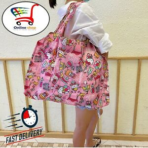 Large Size HELLO KITTY Reusable Waterproof Travel Shopping Bag Handbag Women New