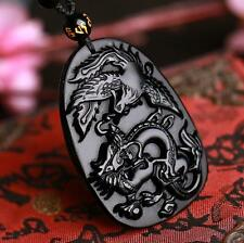 natural Obsidian stone Hand carved  dragon Phoenix Amulet charm pendant necklace