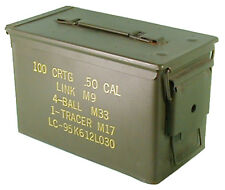 US Army Empty Olive Medium Metal Ammo Box Used Military Surplus Storage