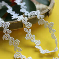 2Yds Embroidery Floral White Cotton Lace Trim Ribbon Wedding Fabric Sewing Craft