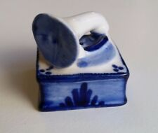 Delft Gramaphone Record Player Figurine Hand Painted Porcelain Blue White Dutch