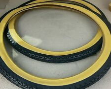 2 NEW DURO BICYCLE TIRES 26X2.125,SCHWINN GOODYEAR PATTERN,GUMWALL,VINTAGE LOOK.