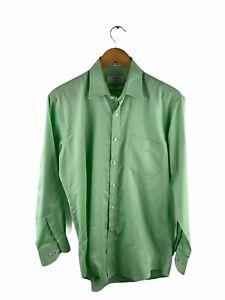 Van Heusen Button Up Shirt Mens Size L Green Stripe Long Sleeve Pocket Collared