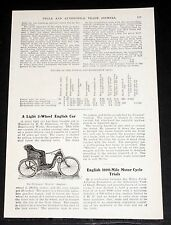 "1903 OLD MAGAZINE ARTICLE, ""A LIGHT 3-WHEEL ENGLISH CAR"", THE DICKINSON MORETTE!"