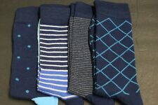 4 PAIRS MEN'S DRESS SOCKS SIZE 10-13 shoe 8-12  COTTON mix pattern CREW SOFT A-2