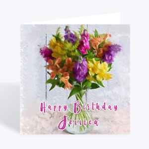 Personalised Birthday Card Flowers Grand Daughter Friend Sister Female Girl UK