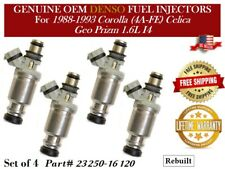 4 Fuel Injectors OEM DENSO for 1988-1993 Corolla(4A-FE) Celica/Geo Prizm 1.6L I4