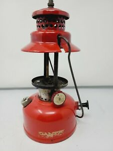 VINTAGE LANTERN RED CAMPER  MODEL NO.1 MOUNTED WITH COLEMAN PART COLLAR 242