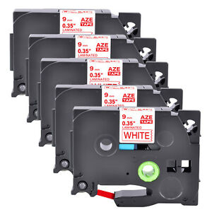 5PK Compatible Brother TZ-222 TZe-222 Red on White Label Tape Cassette 9MM