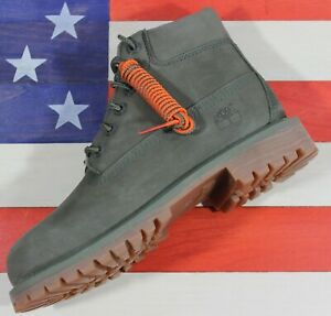 "Timberland Leather 6"" Premium Waterproof Boots Dark Green Nubuck Boys [A1VJRA58]"