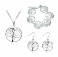 Sets 925 Silber Halskette Baum Des Lebens Anhänger & Ohrringe & Armbänder NEU.