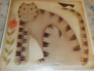"""Fiddlestix country primitive cat art print, 10"""" x 10"""" square 1999 Penny Lane Pub"""