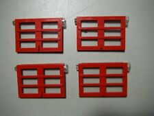Right-Hand 2x two LEGO 1x4x5 Door: RED 6 Panes Trans-Clear Glass part# 73312