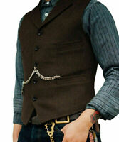 Men's Retro Vests Lapel Suit Wool Herringbone Tweed Waistcoat Notch Jackets 3XL