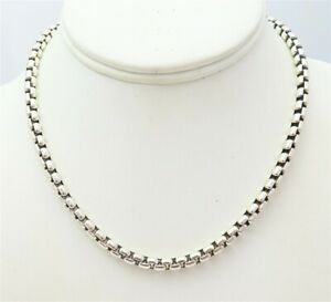 """JAI John Hardy Sterling Silver ~5MM Wide Box Link Chain Necklace 16"""""""