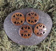 Zen Canyon Large Natural Brown Folk Hearts 2-hole Carved Yak Bone Buttons 4 Pack