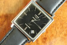 VINTAGE LONGINES ULTRA-CHRON SPACE AGE STAINLESS CASE BLACK DIAL WATCH BOX SET