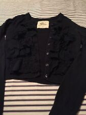 Hollister Black Ruffled Cardigan Sweater XS PREOWNED Long Sleeved