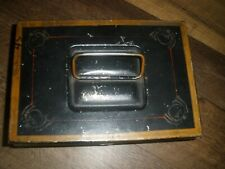 Vintage Antique Black AND GOLD Metal Lock Box Tin Cash Deed Document Strong Box