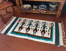 Rug Zapotec Yei Native Mexican Hand Woven 100 % Wool  32 X 64