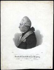 Graf von Herzberg - Portrait Kupferstich 1822 - Original!