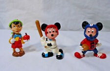 "Disney Figure Lot * 2"" Set -Pinnochio Football Baseball Mickey Mouse Hong Kong"