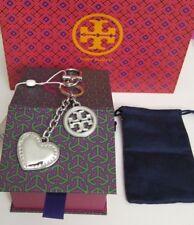 NWT Tory Burch Logo & Heart Silver Metal Key Fob Chain Perfect Bag Charm w/ Box