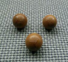 3 Brown Vintage Round Ball Football Buttons 22mm Coat Aran Cardigan Waistcoat