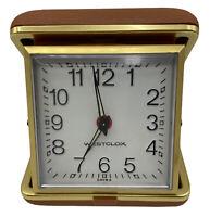 Vintage Westclox Travel Alarm Clock - Windup Clam Shell Case Camel / Tan EUC
