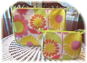2 Clinique Makeup Travel Zippered Cases Pink Sunflower Floral New