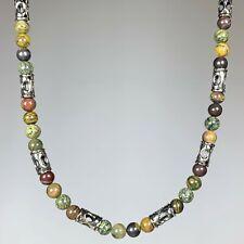 Artisan Handmade  Multicolor Jasper Stone Necklace with Silver Tone Columns N017
